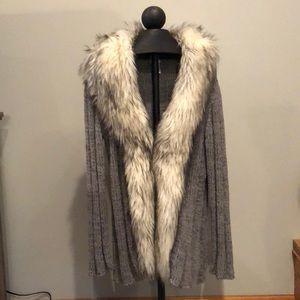 Chico's fur collared sweater cardigan